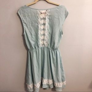 Candies Blue Floral Detail Lace Dress